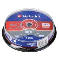 Диски BD-R (Blu-ray) VERBATIM, 25Gb, 2x, 10шт., Cake Box