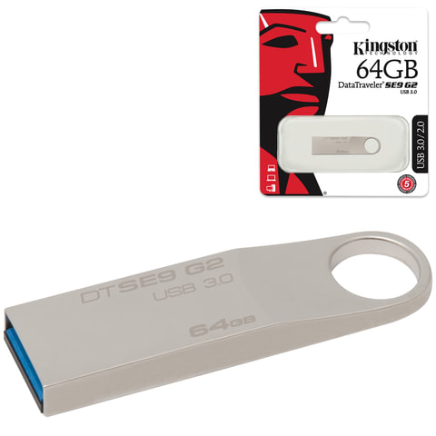 Флэш-диск 64 GB, KINGSTON DataTraveler SE9 G2, USB 3.0, серебристый