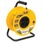 Удлинитель на катушке IEK (ИЕК) GARDEN, ГОСТ Р51539, 4 розетки, 40 м, 2×1 мм, 2200 Вт, без заземления