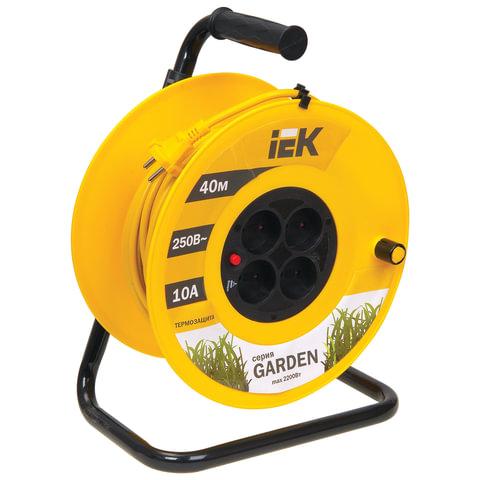 Удлинитель на катушке IEK (ИЕК) GARDEN, ГОСТ Р51539, 4 розетки без заземления, 40 м, 2х1 мм, 2200 Вт