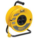 Удлинитель на катушке IEK (ИЕК) INDUSTRIAL, ГОСТ Р51539, 4 розетки, 20 м, 3×1 мм, 2200 Вт, с заземлением