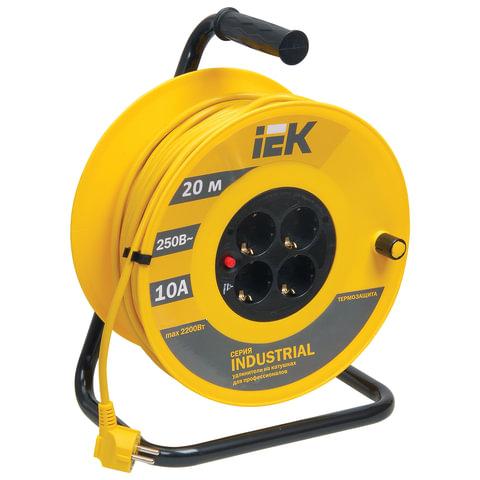 Удлинитель на катушке IEK (ИЕК) INDUSTRIAL, ГОСТ Р51539, 4 розетки с заземлением, 20 м, 3×1 мм, 2200 Вт