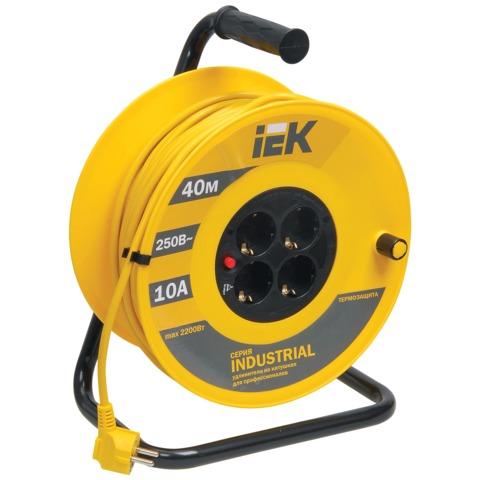 Удлинитель на катушке IEK (ИЕК) INDUSTRIAL, ГОСТ Р51539, 4 розетки с заземлением, 40 м, 3х1 мм, 2200 Вт