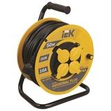 Удлинитель на катушке IEK (ИЕК) INDUSTRIAL PLUS, ГОСТ Р51539, 4 розетки с заземлением, 50 м, 3×1,5 мм, 3500 Вт