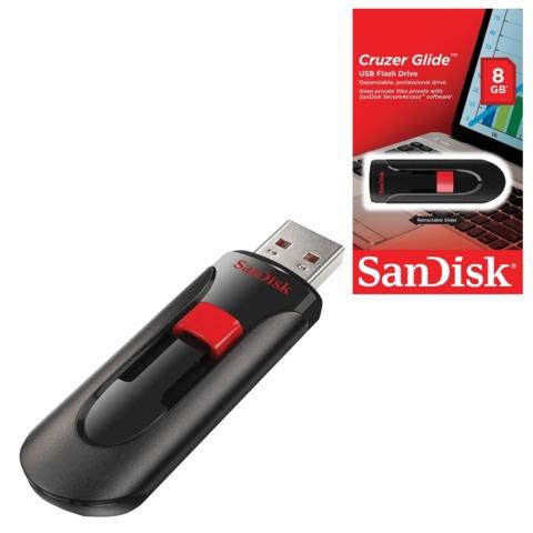 Флэш-диск 8 GB, SANDISK Cruzer Glide, USB 2.0, черный