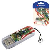 Флэш-диск 8 GB, VERBATIM Mini Tattoo Edition Dragon, USB 2.0, белый с рисунком