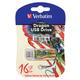 Флэш-диск 16 GB, VERBATIM Mini Tattoo Edition Dragon, USB 2.0, белый с рисунком