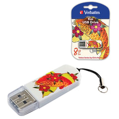 Флэш-диск 8 GB, VERBATIM Mini Tattoo Edition KOI FISH, USB 2.0, белый с рисунком