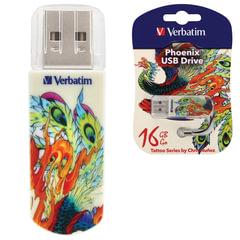 Флэш-диск 16 GB, VERBATIM Mini Tattoo Edition Phoenix, USB 2.0, белый с рисунком