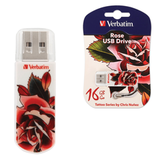 ����-���� VERBATIM, 16 GB, Mini Tattoo Edition Rose, USB 2.0, �������� ������/<wbr/>������ — 8/<wbr/>2,5 ��/<wbr/>���.