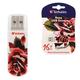 Флэш-диск 16 GB, VERBATIM Mini Tattoo Edition Rose, USB 2.0, белый с рисунком