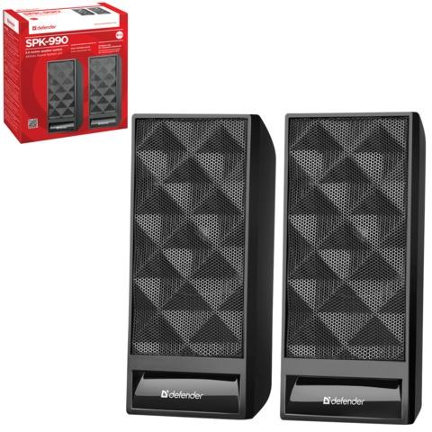Колонки компьютерные DEFENDER SPK 990, 2.0, 2х3 Вт, интерфейс 3,5 мм джек, питание от USB, пластик, черные