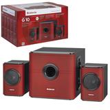 Колонки компьютерные DEFENDER G10, 2.1, 2×7,5 Вт, 1×15 Вт, деревянный корпус, красные