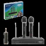 Микрофоны DEFENDER MIC-155, набор, беспроводные, радио 87-92 МГц, радиус действия 30 м, черные