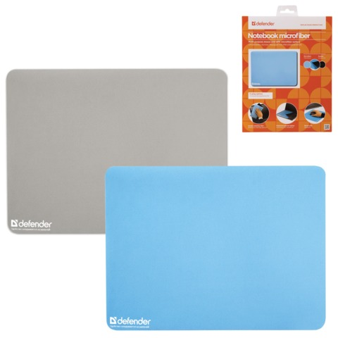 Коврик для мыши DEFENDER Notebook microfiber, микрофибра+sbr, 300х225х1,2 мм, 2 цвета