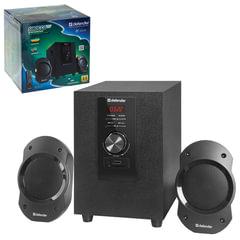 Колонки компьютерные DEFENDER Sirocco S10 Pro, 2.1, 10 Вт, FM, пульт ДУ, дерево/<wbr/>пластик, черные