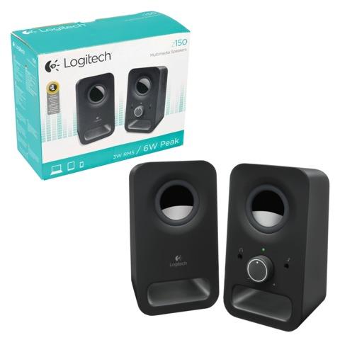 Колонки компьютерные LOGITECH Z150, 2.0, 2×1, 5 Вт, пластиковый корпус, черный