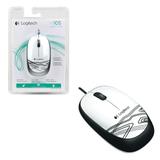 Мышь проводная оптическая LOGITECH M105, 2 кнопки + 1 колесо-кнопка, цвет белый
