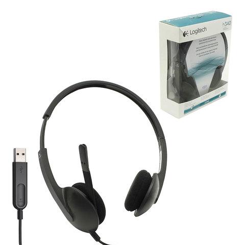 Наушники с микрофоном (гарнитура) LOGITECH H340, проводная, 1,8 м, стерео, с оголовьем