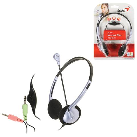 Наушники с микрофоном (гарнитура) GENIUS HS-02B, проводная, 1,8 м, стерео, накладная, mini jack 3,5 мм