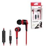 Наушники с микрофоном (гарнитура) GENIUS HS-M225, вкладыши, 1,2 м, черные с красным