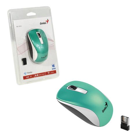 Мышь беспроводная GENIUS NX-7010, 2 кнопки + 1 колесо-кнопка, оптическая, бирюзовая