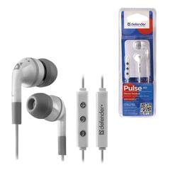 Наушники с микрофоном (гарнитура) DEFENDER Pulse 451, проводная, 1,2 м, вкладыши, для iPhone, белая