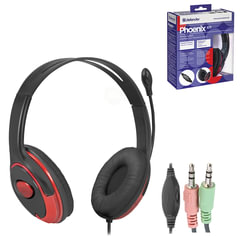 Наушники с микрофоном (гарнитура) DEFENDER Phoenix 875, проводная, компьютерная, 2 м, черная с красным