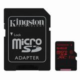 Карта памяти micro SDXC UHS-I U3, 64 Gb, KINGSTON, скорость передачи даннных до 90 Мб/<wbr/>сек. (class 10), с адаптером