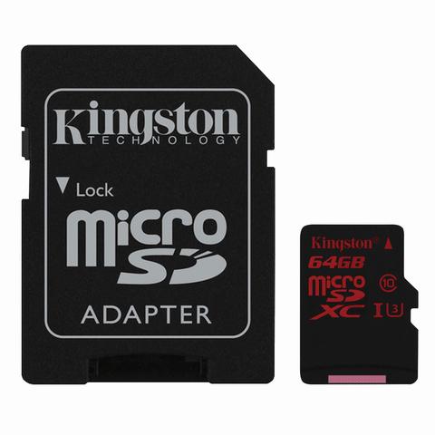 Карта памяти micro SDXC, 64 GB, KINGSTON, UHS-I U3, 90 Мб/сек. (class 10), с адаптером