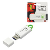 Флэш-диск, 128 GB, KINGSTON Data Traveler G4, USB 3.0, бело-зеленый