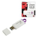 Флэш-диск, 64 GB, KINGSTON Data Traveler G4, USB 3.0, бело-фиолетовый