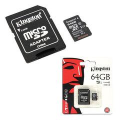 Карта памяти micro SDXC, 64 GB, KINGSTON, UHS-I U1, 45 Мб/<wbr/>сек. (class 10), с адаптером