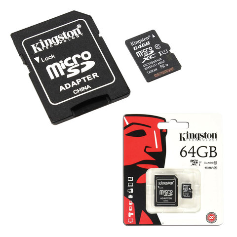 Карта памяти micro SDHC, 64 GB, KINGSTON, скорость передачи данных 45 Мб/сек. (class 10), с адаптером