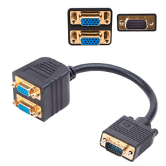 Разветвитель видеосигнала VGA CABLEXPERT, 15M/<wbr/>15F, 1 ПК на 2 монитора, CC-VGAX2-20CM