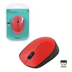 Мышь беспроводная LOGITECH M171, 2 кнопки + 1 колесо-кнопка, оптическая, красная