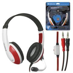 Наушники с микрофоном (гарнитура) DEFENDER Warhead G-120, проводные, 2 м, стерео, бело-красные