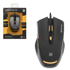 Мышь проводная DEFENDER Warhead GM-1710, USB, 5 кнопок + 1 колесо-кнопка, оптическая, игровая, черная