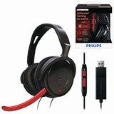 Наушники с микрофоном (гарнитура) PHILIPS SHG7980/<wbr/>10, проводные, 2 м, накладные, USB, черные