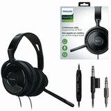 Наушники с микрофоном (гарнитура) PHILIPS SHM6500/<wbr/>10, проводные, 2 м, накладные, 2 mini jack 3,5 мм, черные