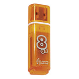 Флэш-диск 8 GB, SMARTBUY Glossy, USB 2.0, оранжевый