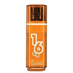 Флэш-диск 16 GB, SMARTBUY Glossy, USB 2.0, оранжевый