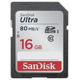 Карта памяти SDHC, 16 GB, SANDISK Ultra UHS-I, скорость передачи данных 80 Мб/<wbr/>сек. (class 10)