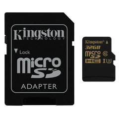 Карта памяти micro SDHC, 32 GB, KINGSTON Gold, UHS-I U3, 90 Мб/<wbr/>сек. (class 10), с адаптером