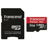 Карта памяти micro SDXC, 64 GB, TRANSCEND UHS-I, скорость передачи данных 60 МБ/<wbr/>сек (class 10), с адаптером