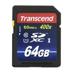 Карта памяти SDXC, 64 GB, TRANSCEND Premium 400x, UHS-I U1, 60 Мб/<wbr/>сек. (class 10)
