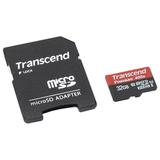 Карта памяти micro SDHC, 32 GB, TRANSCEND, скорость передачи данных 60 МБ/<wbr/>сек (class 10), с адаптером