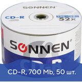 Диски CD-R SONNEN 700 Mb 52x Bulk, КОМПЛЕКТ 50 шт., 512571