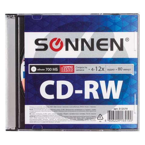 Диск CD-RW SONNEN, 700 Mb, 4-12x, Slim Case (1 штука)