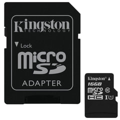 Карта памяти micro SDHC,16 GB, KINGSTON Canvas Select, UHS-I U1, 80 Мб/<wbr/>сек. (class 10), адаптер